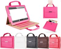 Wholesale Handbag Ipad Air Cases - Striped Contrast Color Stand Leather Hand Bag Smart Cover Case Handbag For New iPad 2017 9.7 Pro 10.5 2 3 4 5 Air Mini