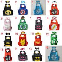 Wholesale High Quality Batman Mask - 35 High Quality Designs Superhero Turtles Cape & Mask L70*W70CM Double Side batman spiderman Reversible Superhero Cape supergirl cape + mask