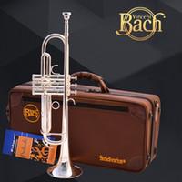 ingrosso strumento giallo tromba-Tromba Bach LT190S-77 Sib Tromba Argento Ottone Placcato Strumenti Bb Trumpete Popolare Strumento Musicale Professionale
