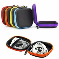 Wholesale Hard Storage - Wholesale- PU Leather For Earphone Headphone Earbuds Cards Storage Bag Pouch Hard Case Box
