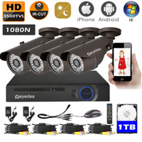 Wholesale Cctv Ch Camera - Eyedea 8 CH 1080P Lite Remote View DVR Phone View Motion Detection Recorder 3500TVL Outdoor Night Vision CMOS CCTV Security Camera System 1T