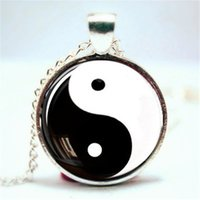 Wholesale chinese glass plates - 10pcs lot Yin and Yang Pendant, Yin Yang Necklace, Chinese Necklace Glass Photo Cabochon Necklace