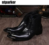 Wholesale Boot Irons - Big size 45 46 Men's Ankle Short Boot Black Height Increased Iron Toe Zip Boots Men Western Shoes Boots!