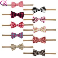 Wholesale nylon baby head bands resale online - Boutique Hair accessories Sweet Baby Headbands Nylon Polka dots Stripes Plaid Elastic head bands Girl Bow Hotsale