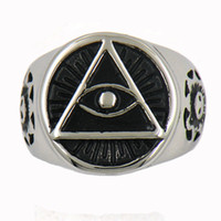 Wholesale Party Gods - Custom made stainless steel mens or wemens jewelry free masonary GODS EYE ALL SEEING EYE SMILING SUNFLOWER MASONIC RING 12W11