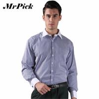 пуговицы для рубашек оптовых-Wholesale- French Cuff Button Men Dress Shirts 2016 New Non Iron  Slim Long Sleeve  Formal Business Fashion Stripe Shirts B0855