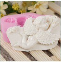 bebek şekilli kek toptan satış-Melek Bebek Şekli Silikon Kek Kalıbı Düğün Pastası Dekorasyon Araçları Silikon Pişirme Şeker Kil Gumpaste Çikolata Kalıpları