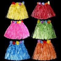 Wholesale Pink Grass Skirt Wholesale - SF Popular Tassel Child Girl Princess Flower Hula Grass Skirt Fancy Costuhow me Show Skirt Hula grass skirts Tutu garlands bracelet head