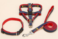 Atacado Retrátil Pet Dog Collares Leashes Denim Nylon Tecido Colar Pet Puppy Outdoor Decoração Harness Colares