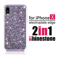 Wholesale Glitter For Phones - Premium bling 2 in 1 Luxury diamond rhinestone glitter back cover phone case For iPhone X 8 7 5 6 6s plus Samsung s8 note 8 cases