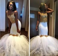 Wholesale Girls Size 12 Slim - 2017 Gold Lace Mermaid White Black Girl Formal Evening Dresses With Tulle Puffy Skirt Sexy Slim Prom Arabic Party Gowns Vestidos De Festa