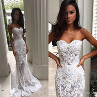 Wholesale Sweetheart Strapless Mermaid Wedding Dresses - 2017 New Steven Khalil Lace Mermaid Wedding Dresses With Strapless Sheer Back Court Train Applique Bridal Gowns Custom Made BA3639