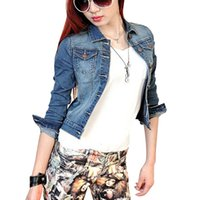 Wholesale Denim Short Jackets Wholesale - Wholesale- Classic Womens Washed Slim Short Lapel Denim Jean Jacket Coat Outwear Top Newest