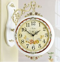 Wholesale Retro double sides decorative vintage wooden wall clock Fashion Decorate Home Interior Decoration Rome