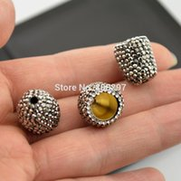 Wholesale End Caps Findings For Jewelry - High Quality 20Pcs Pave Rhinestone Ends Buckle Bead Caps For Round Leathers Jewelry Making Finding