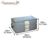 Atacado- DINIWELL Bambu Nonwoven Bedding Quilt Pillow Blanket Vestuário Armazenamento Zipper Bag Case Container Box Cloest Divider Organizer