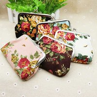 Wholesale Mini Women Gifts - Free shipping Vintage flower coin purse canvas key holder wallet hasp small gifts bag clutch handbag H300331