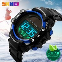 SKMEI Outdoor Sports Relógios Homens New Power Solar LED Digital Relógios de pulso Clock 50M Waterproof Shock Watch Mens Relógios de pulso