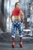 Wholesale Sexy Wonder Women - High quality lenggings sports Wonder Woman style womens wholesale skinny gym pants young female tights girls sexy hip hop pants trousers