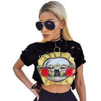 Wholesale Midriff Tops - Fashion Women Lady Guns N' Rose Print Holes Midriff Short Sleeves Casual T-shirt Crop Top