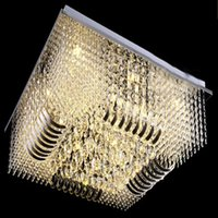 Wholesale Modern Luxury Lighting - new luxury modern rectangle flush mount crystal chandelier lighting L800*W800*h290mm free shipping