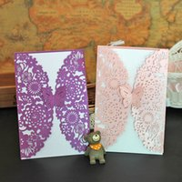 Wholesale Wedding Invitations Cards Cheap Romantic New Style Laser Cut Flower Wed Invitation Card Butterfly Hollow Flowers Wedding Party Supplies