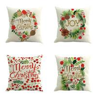 ingrosso coperture di cuscini di pitture-New 14 Styles Merry Christmas Cushion Cover Color Paintings Albero di Natale Red Car Cushion Covers Decorative Lino Beige Federa