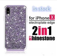 Wholesale luxury cell phone cases diamonds - New Premium bling 2 in 1 Luxury diamond rhinestone glitter back cover Cell phone case For iPhone X 8 7 5 6 6s plus Samsung s8 note 8 cases