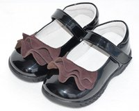 Flowers black school shoes for kids - girls shoes black school shoe for student patent PU kids flats first walkers toddler SandQ baby new