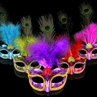 Wholesale Venetian Mask Masquerade Costume Purple - Party Mask Woman Female Masquerade Masks Luxury Peacock Feathers Half Face Mask Party Cosplay Costume Halloween Venetian Mask