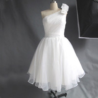 Wholesale Inexpensive Elegant Dresses - Simple Elegant Real Picture Ivory Graduation Party Dress Short One Shoulder Ruched Inexpensive Homecoming Gowns Custom Made