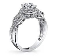 Wholesale asian women wedding gemstone rings - 2017 New Wholesale Luxury Jewelry 925 Sterling Silver White Topaz CZ Diamond SONA Gemstones Women Wedding Flower Band Ring Gift Size 4-10
