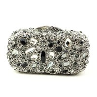 Wholesale Cheap Bags For Women Online - Sparkly Handmade Crystal Banquet Handbag Luxury Rhinestone Crystal Clutch Evening Bags Online for Cheap Black Silver Clutch Bag