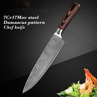 "Wholesale Brown Kitchens - High quali Chef knife, 8 ""Professional Japanese stainless steel kitchen Chef knife imitation Damascus pattern sharp slicing Gift knife"