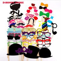 Wholesale Lips Mustache Decorations - 58pcs set Photo Booth Props Glasses Mustache Lip Mask Fun Colorful paper Card For Wedding Birthday Party Decoration gift