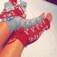 Wholesale girls thick warm socks - Christmas Moose Over Knee Sock Elk Knee Cover Protector Thick Girl Warm Knitted Socks Crochet Knitted Boots Socks LJJO2932