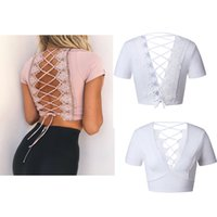 Wholesale Womens Sexy Backless Shirts - 2017 New Summer Sexy Womens Short Sleeve Backless Bandage Hollow Ladies Short T-Shirt Tops Blouse 2 Colors 4 Size