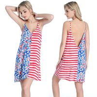 Wholesale Two Piece Dress Europe - Outdoor Beach Dress Long Skirt US Flag Europe and the United States New Sexy Deep V Halter Sling 100% Artificial Cotton Seaside Resort