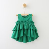 Wholesale Natural Fabric Clothing Wholesale - Summer Girls Ruffles Blouses Cute Solid Layered Tops Fashion Kids Blouses Cotton Fabric Children Wholesale Clothes Free Shipping
