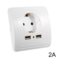 Wholesale Wall Outlet Adapters - 2.0A Wall Charger Adapter EU Plug Wall Socket Power Outlet Panel Dual USB Ports HS915+