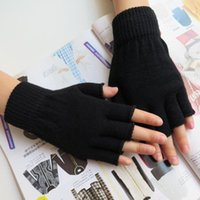 Venda por atacado - 1Pair Stretch Knitted Gloves Men Women Fingerless Winter Warmer Mittens Black W1