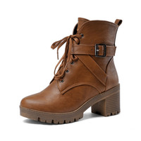 Wholesale Women Casual Riding Boots - Wholesale-Brown Black New Winter Shoes Woman Lace Up Round Toe Casual Ankle Boots PU leather Riding Boots Office Ladies Shoes Size 34-43