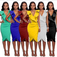 Wholesale Turquoise S Dress - S-XL 6 Colors Women Summer Sleeveless Dress Sexy Solid Turquoise Ruffle V Neck Bodycon Midi Tight Wrap Party Dress Vestidos