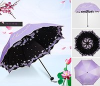 Anti-UV Sun Umbrella Triple Folding UV Protected Parasol Rain Umbrella Компактные ветрозащитные милые женщины Lady Travel Rainstoppers Chinese Style P
