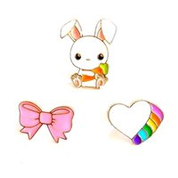 Wholesale Bunny Brooch Pin - Wholesale- free shipping 6 pcs lot fashion jewelry accessories enamel metal bow heart bunny rabbit badge brooch label pin