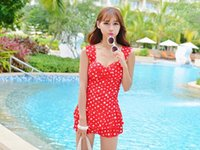 Wholesale Conservative Skirts - free shipping One-piece swimsuit female big size was thin cover belly swimsuit conservative striped flat angle skirt swimsuit