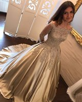 Wholesale Yellow Gold Gown Dresses - 2017 Arabic New Gold Lace Appliques Beaded Prom Dresses Long Sleeves Off Shoulder Satin Plus Size Pageant Party Dress Formal Evening Gowns