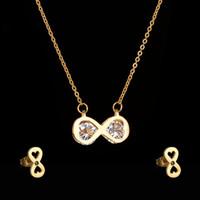 Wholesale Earring Infinity - Luxury Bijoux Women Jewelry Infinity Love Necklace Earrings Set Stainless Steel Simple CZ Stone Weeding Set
