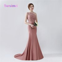 Wholesale Fast Pictures - Fast Shipping Formal Mermaid Bridesmaid Dresses 2017 One Shoulder Satin Appliques For Wedding Party Gowns Bride Maid Sweep Train