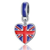 pulseras de bajo precio del encanto al por mayor-20 unids / lote plata de la manera plateado esmalte banderas del Reino Unido diseño de aleación de metal diy encanto encajan brazalete europeo del cuello bajo precio pd142